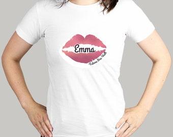 Girls Women Kiss Fit Hen Party Birthday Gift Top Glittering Lips Ladies T-Shirt
