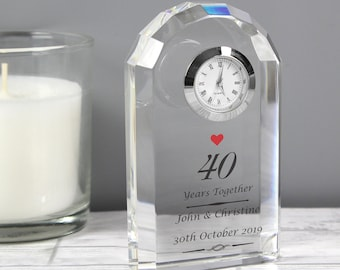 Personalised Ruby Wedding Anniversary Crystal Clock - Ruby Wedding Anniversary Gifts - 40th Anniversary Gifts