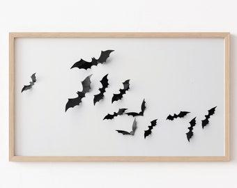 Frame TV Art File, Halloween Frame TV Art, Black Bats, Frame TV Halloween, Black and White, Neutral Halloween, Fall Art