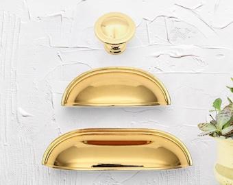 "Gold Cup Pulls 2.5"" 3.78"" 64 96mm Cup Pulls Gold Cup Pulls Cabinet Cup Pulls Drawer Pulls Cabinet Hardware Farmhouse Decor"