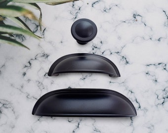 Cup Pulls 2.5 3.78 5, Matte Black Cup Pull Handle Black, Bin Cup Pulls, 64 96mm Cup Pulls, Farmhouse Knobs and Pulls, Black Cabinet Hardware
