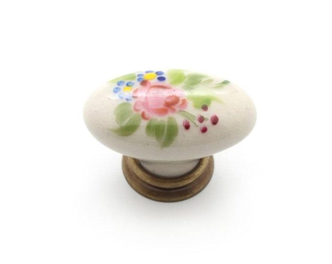 Vintage Floral Knob 42mm Vintage Porcelain Cabinet Pulls Knobs Handles Drawer Dresser Knob Pull Handle Farmhouse Decor Country Hardware