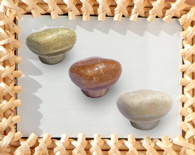 Boho Drawer Knobs Porcelain Rock Knobs Porcelain Rock Drawer Knobs Imitated Stone Pulls and Knobs Vintage Knobs Beach Decor Minimal Decor
