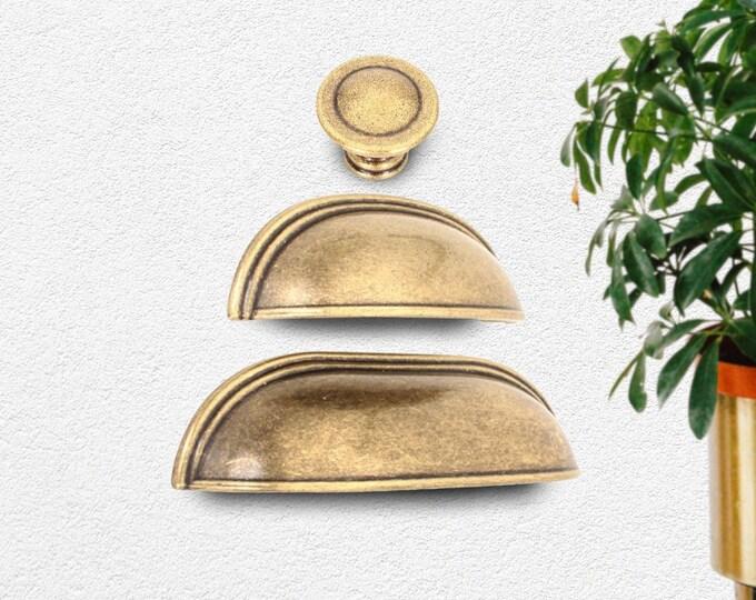 "Cup Pulls Antique Bronze 2.5"" 3.78"" Cup Pulls Cabinet Hardware, Antique Bronze Drawer Pull, Bin Cup Pulls, Bronze Drawer Pulls, Dresser Pull"