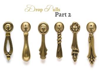 Drop Pull Rustic Drop Pulls Antique Gold Vintage Pull Farmhouse Decor Dresser Cabinet Knobs Pulls Handles Part2 Cottage Furniture Hardware