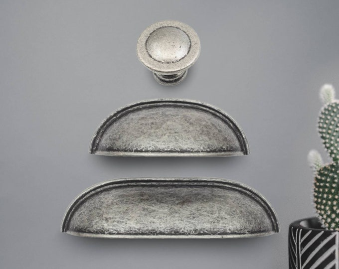 """Cup Pulls Cabinet Hardware 2.5"""" 3.78"""" 64mm 96mm Antique Silver Cup Pulls, Bin Cup Pull, Drawer Pulls, Pewter Cabinet Pulls, Pewter Pulls"""