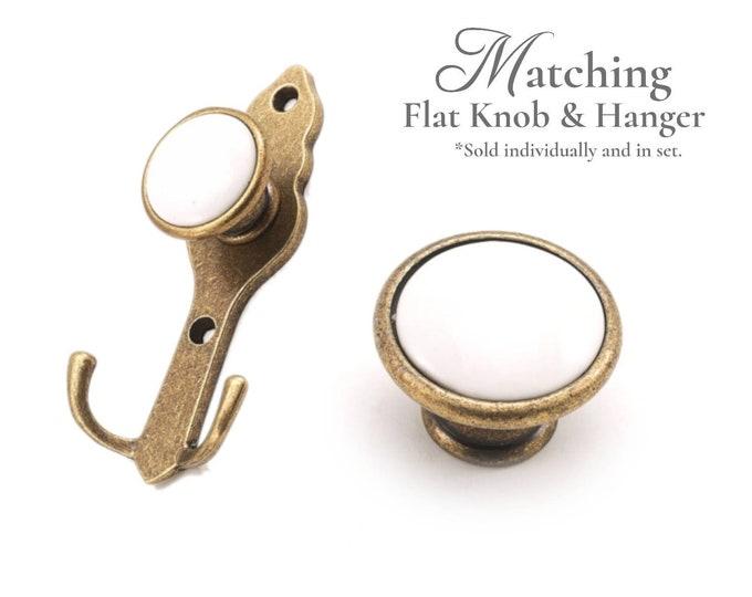 Coat Rack Hook Porcelain Wall Hook Matching Knob and Rack Hook Hanger Towel Hook Hat Hook Key Hook Farmhouse Kitchenware Antique Bronze