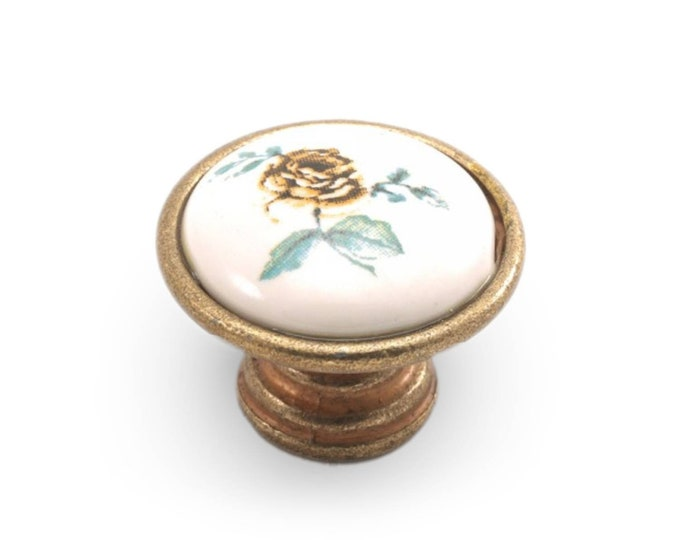 Floral Knob 35mm Porcelain Flat Knob Vintage Dresser Knobs Pull Wardrobe Knob Drawer Knob Dresser Porcelain Knobs Cabinet Knobs Pulls Handle