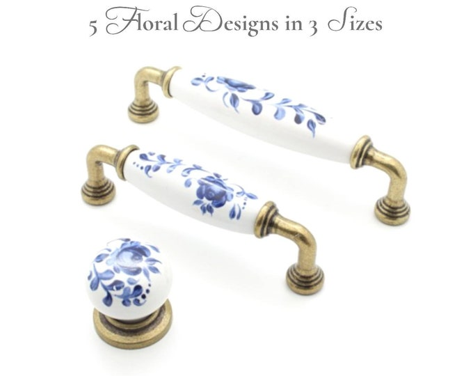 """Floral Pull Handles 96 128 3.75"""" 5"""" Matching Porcelain Drawer Pulls Porcelain Pulls Cabinet Pulls Dresser Pulls Farmhouse Knobs and Pulls"""