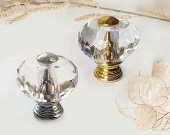 Glass Knobs for Dresser 30mm Big Clear Glass Crystal Knob Gold Silver Glass Knobs Glass Drawer Knobs Chic Knobs and Pulls Furniture Hardware