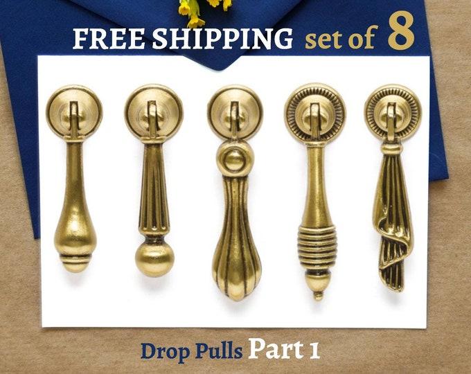 Set of 8 Drop Pulls Rustic Drop Pulls Vintage Pull Antique Gold Pulls Farmhouse Decor Furniture Hardware Cabinet Pulls Handles Dresser Knobs