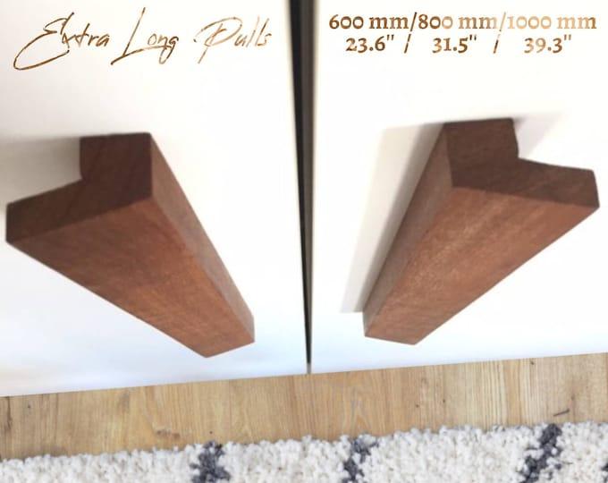 Large Wood Drawer Handles 60cm 80cm 100cm, Oak Cabinet Pulls, Appliance Pulls, Long Wood Pulls Wardrobe Door Handle, Minimalist Handle
