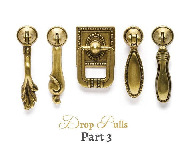 Drop Pull Drawer Pulls Antique Gold Vintage Pull  Dresser Cabinet Knobs Pulls Handles Cottage Furniture Hardware Farmhouse Decor Part 3