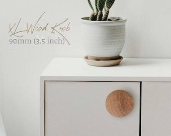 "Extra Large Knobs 90mm 3.5"" Wood Cabinet Knobs, Wood Drawer Knobs, Large Wood Knobs,  Wood Dresser Knobs, Nordic Decor, Boho Drawer Knobs"
