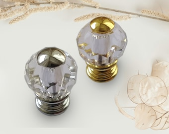 Glass Knobs Small 20 mm Dresser Clear Glass Crystal Knob Gold Silver Glass Knobs Glass Drawer Knobs Cabinet Knobs Knobs Furniture Hardware