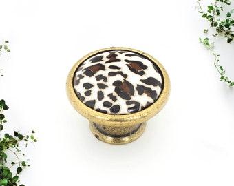Animal Print Knobs 35mm Porcelain Drawer Knobs, Dresser Knobs, Boho Drawer Knobs, Farmhouse Knobs and Pulls, Safari Animal Print Knobs