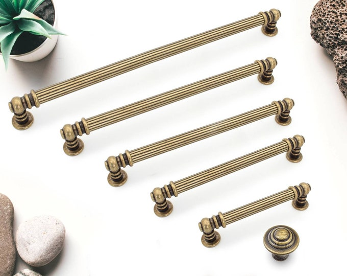 Cabinet Pulls 3.78 5 6.3 7.5 8.8 Antique Bronze Cabinet Pulls and Knobs, Long Cabinet Handles, Cabinet Hardware 96 128 160 192 224mm