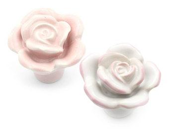 Pink Rose Knob Vintage Porcelain Rose Knobs Pulls Dresser Knobs Drawer Knob Rose Pull Cabinet Shabby Chic Pink Flower Cottage Chic Hardware