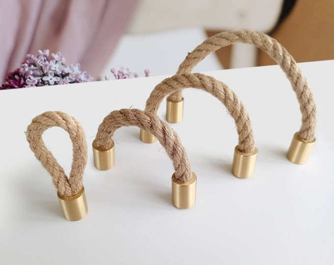 Brass Rope Drawer Pulls, Rope Pulls, Boho Drawer Pulls, Scandinavian Drawer Pulls, Farmhouse Knobs and Pulls, 2.5 3.75 5 6.3 7.5