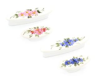 """Vintage Floral Pull 64mm 2.5"""" Vintage Porcelain Cabinet Pulls Knobs Handles Drawer Dresser Knob Pull Handle Farmhouse Decor Country Hardware"""