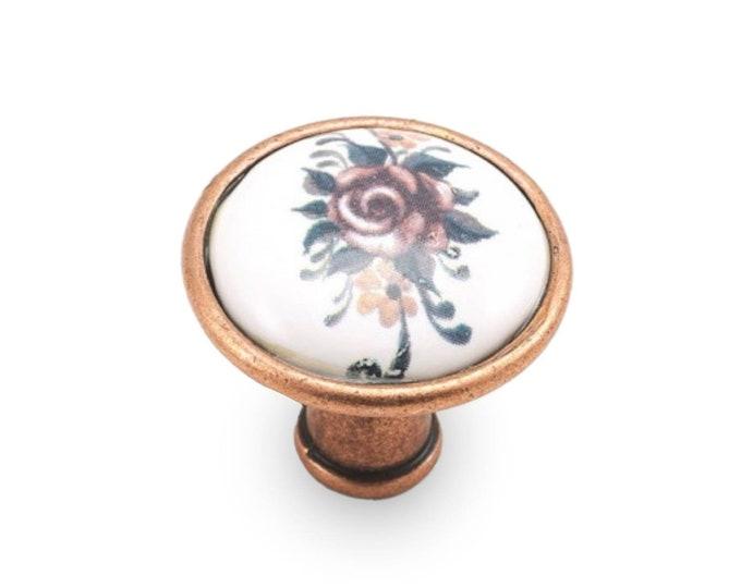 Floral Knobs 35mm Porcelain Knobs, Dresser Knobs, Drawer Knobs, Vintage Knobs, Farmhouse Knobs and Pulls, Rustic Knobs, Antique Bronze Knobs