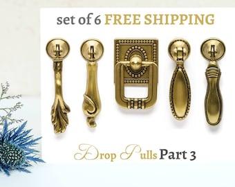 Drop Pulls Set of 6 Drawer Pulls Antique Gold Vintage Pull  Dresser Cabinet Knobs Pulls Handles Cottage Furniture Hardware Farmhouse Part 3