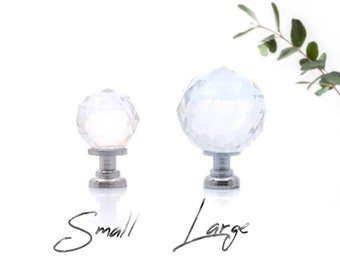 Crystal Glass Knob, Small Glass Knobs, Large Glass Knobs Glass Knobs for Dresser, Cabinets, Clear Glass Dresser Knobs Chrome Glass Knobs
