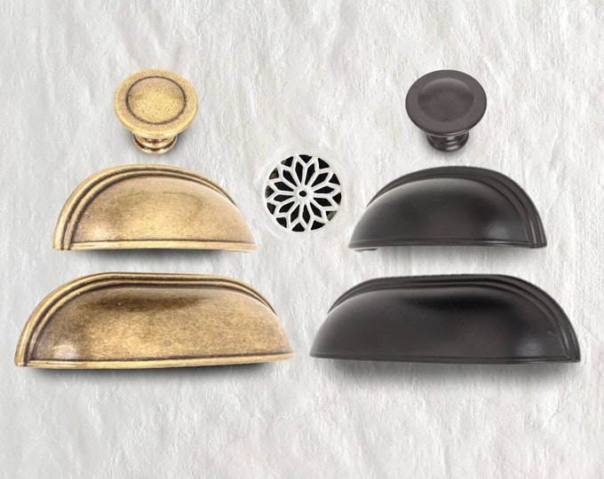 Cup Pulls 96mm 64mm Rustic Cup Pulls and Knob Bin Pulls Furniture Hardware Vintage Knobs and Pulls Antique Gold Black Pulls Farmhouse Decor