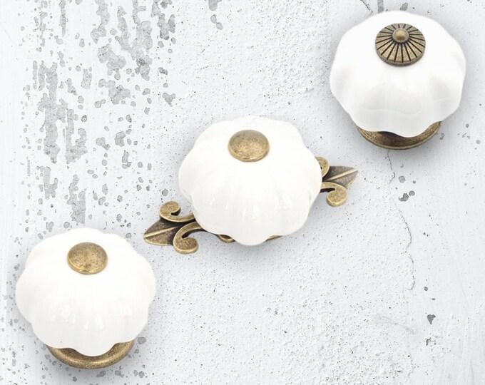 White Pumpkin Knob Vintage Porcelain Knobs Pulls Dresser Knobs Drawer Knobs Dresser Knobs Backplate Cabinet Knobs Farmhouse Decor Hardware