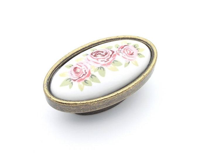 Floral Dresser Knob, Large Knobs, Vintage Style Knob, Farmhouse Knobs and Pulls, Porcelain Knobs, Antique Bronze Knobs