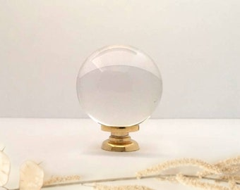 """Crystal Ball Knob 1"""" 25mm, Glass Knobs, Small Glass Knobs Glass Knobs for Dresser, Cabinets, Clear Glass Dresser Knobs Polished Gold Metal"""