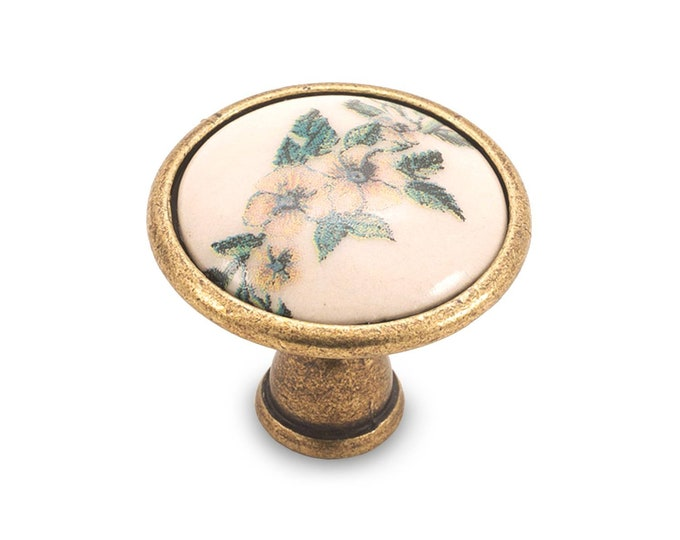 Vintage Floral Knob Porcelain Antique Flower Knob Dresser Knob Wardrobe Knob Drawer Knob Dresser Porcelain Knob Cabinet Knobs Pulls Hardware