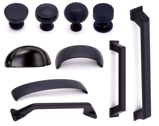 Black Knobs Black Pulls Black Cup Pull Matching Black Rustic Furniture Farmhouse Knobs and Pulls Modern Knobs Pulls Cabinet Cupboard Drawer