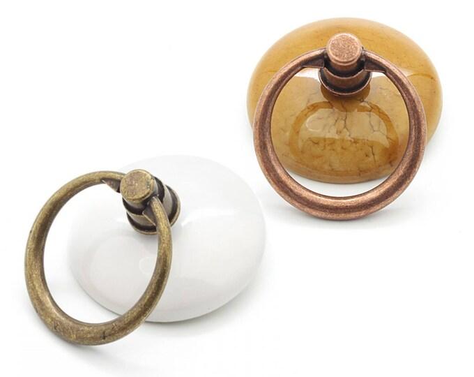 Drop Pulls Decorative Porcelain Drop Pulls White and Antique Bronze, Antique Copper Pulls Vintage Pulls Farmhouse Decor Furniture Hardware