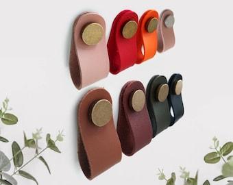 Leather Drawer Pulls, Hemnes Dresser Knobs, Vegan Leather Pulls Handles, Drawer Pulls, Dresser Pulls, Boho Drawer Knobs, Pink Leather Pulls