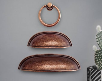 Copper Cup Pulls 2.5 3.78 inch 64 96mm Antique Copper Cup Pulls, Copper Drawer Pulls, Dresser Pulls, Farmhouse Decor, Cabinet Hardware