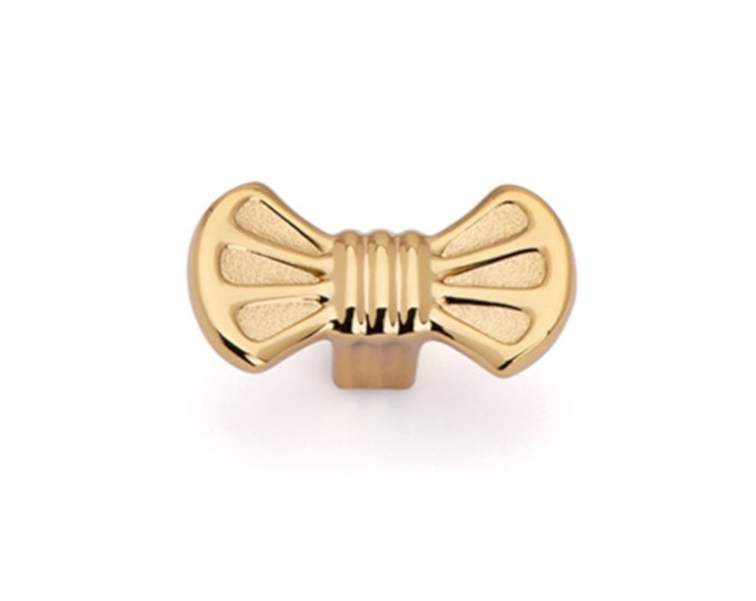 Gold Bow Knob Novelty Bow Tie Dresser Pull Bedroom Cabinet Knob Dresser Knob Solid Gold Brass Ribbon Drawer Knob Pull Shabby Chic Knobs