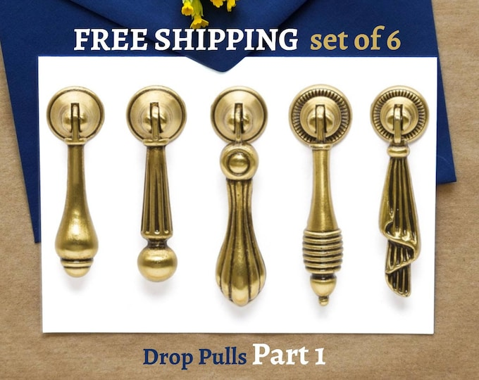Drop Pull Set of 6 Rustic Drop Pulls Vintage Pull Antique Gold Pulls Farmhouse Decor Furniture Hardware Cabinet Pulls Handles Dresser Knobs