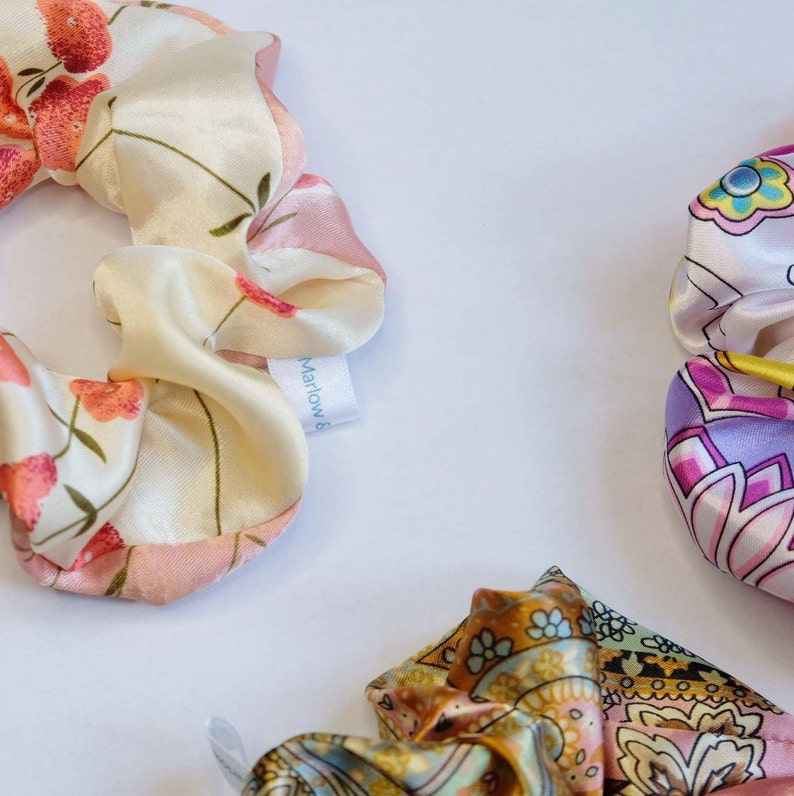 Eco Gift Recycled clothing Easter Present Up-cycled fabric Pretty Silk Scrunchie