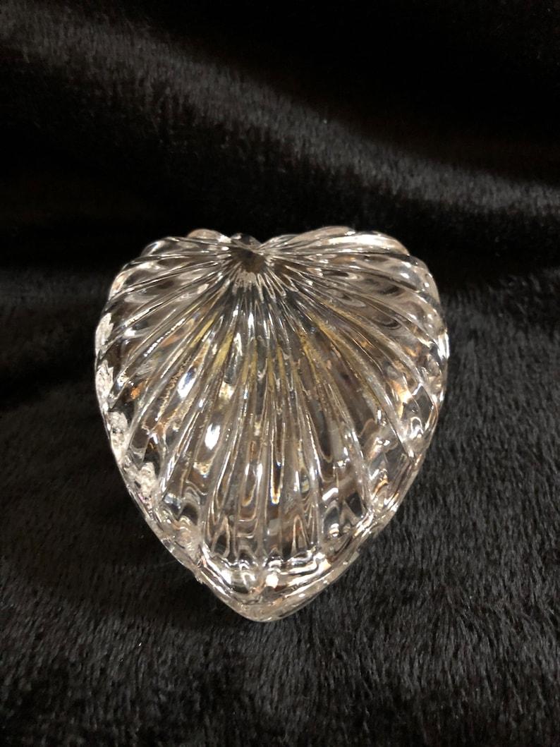 Vintage heart crystal ring trinket dish  jewelry trinket box