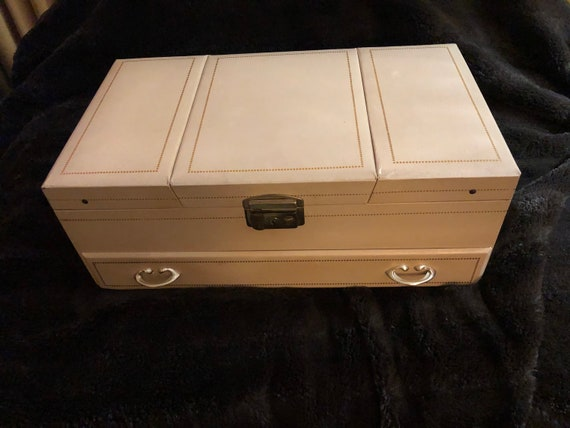 vintage jewelry box with storage compartments/ jew