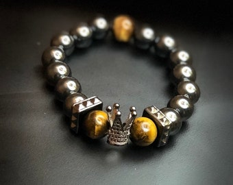 Hannibal Series Bracelet Hematite & Tiger's Eye Legacy Linkz Jewelers Let's Stay Link'd