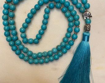 Turquoise Elephant Mala Necklace