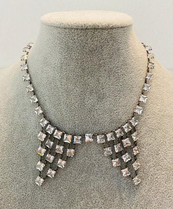 "Antique Art Deco Czech Style Crystal 15.5"" Necklac"