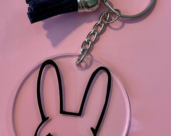 Bad bunny initial keychain set
