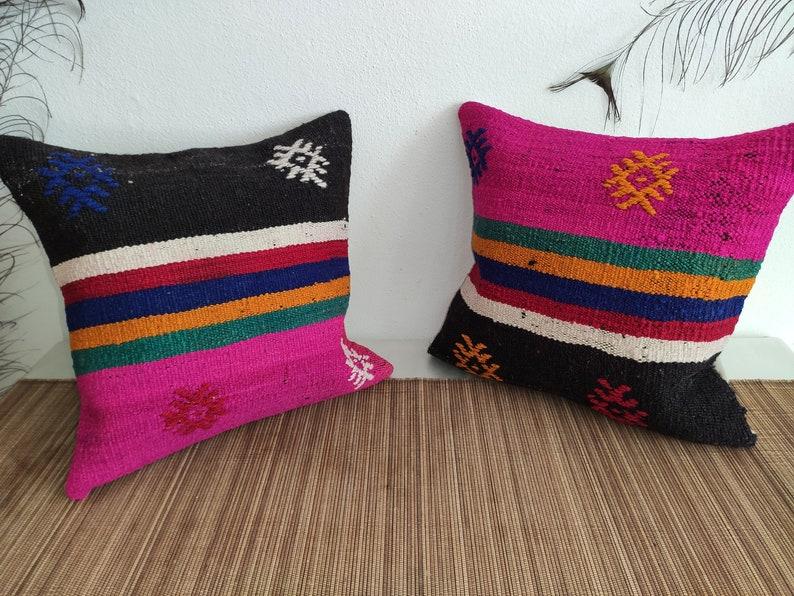 pr13 15.7x15.7 Twin Pillows,Turkish Pillow,Hand Made Pillow,Kilim Pillow,Accent Pillow,Cushion Rug Kilim,Pink Pillow,Decorative Pillow