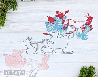SLEIGH MOUSE Metal Cutting Die for Paper Crafting