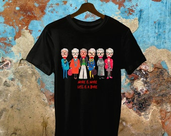 Iris Apfel inspired, unisex, more is more less is a bore, black t-shirt