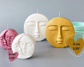3D Moon and Sun Face Silicone Mold, moon candle silicone mold, Sun Moon Double Face mold for candle, soap, resin