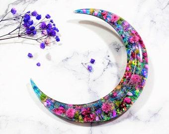 Glowing in the Dark, Crescent Moon Hair fork, Horn hair stick, Gypsophila, hair accessories, Kanzashi, Blue, Pink, Resin